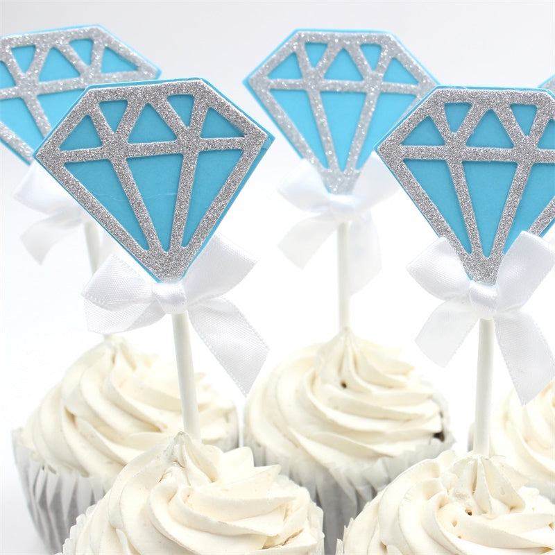 tiffany blue diamond cupcake toppers
