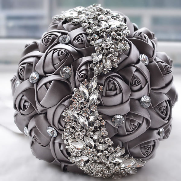 everlasting brooch bouquet grey and crystal