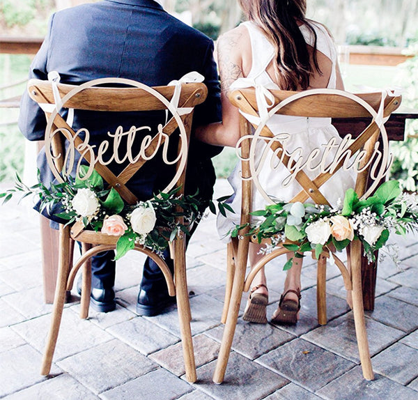 better together chair signs wedding decorations wooden