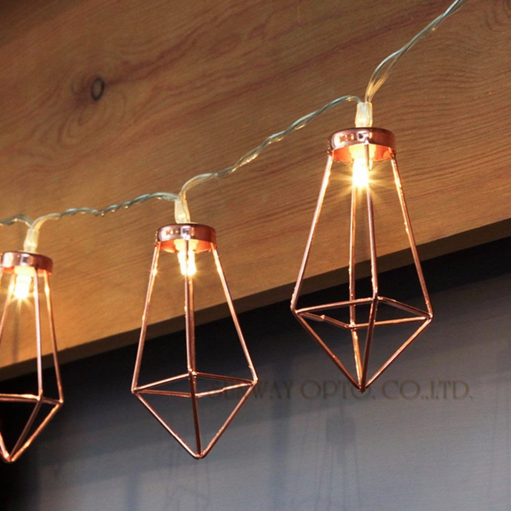 copper diamond cage fairy lights