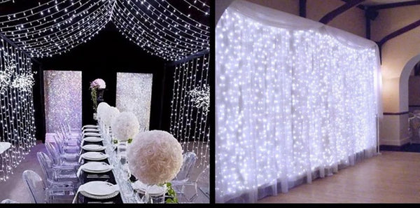 white light fairy light curtain wedding backdrop