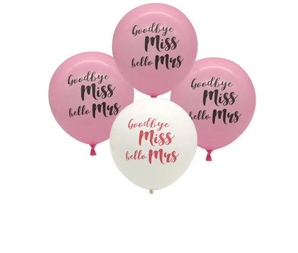 miss to mrs balloon bachelorette hen engagement bridal shower parties pink and white