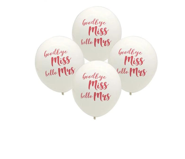 miss to mrs balloon bachelorette hen engagement bridal shower parties white