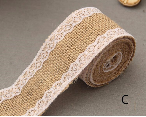 DIY wedding burlap and lace ribbon
