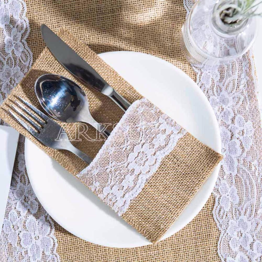 burlap and lace cutlery holder rustic wedding table setting