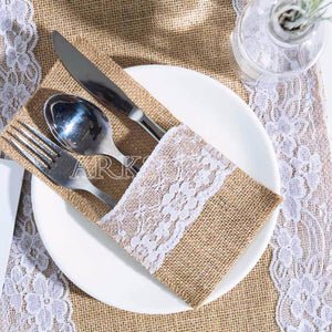 burlap and lace cutlery holder (5 pcs)