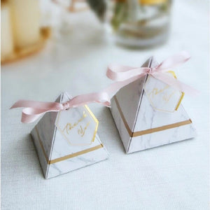 pyramid wedding favor marble pink and gold pink ribbon