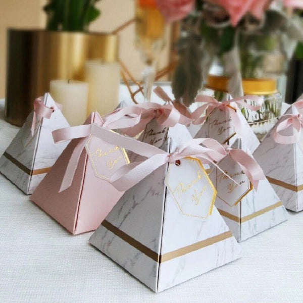 pyramid wedding favor marble pink and gold pink ribbon reversable