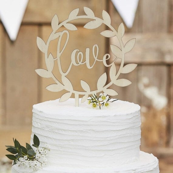 love cake topper wooden wedding cake engagement