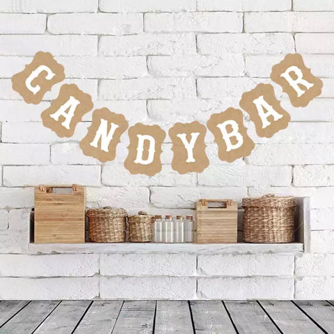 candy bar banner wedding dessert table natural