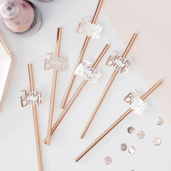Team Bride Rose Gold Cups and Straws