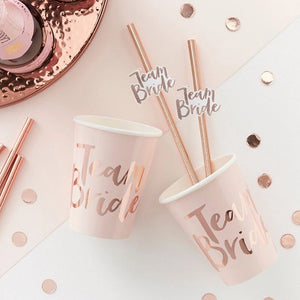 team bride rose gold straws