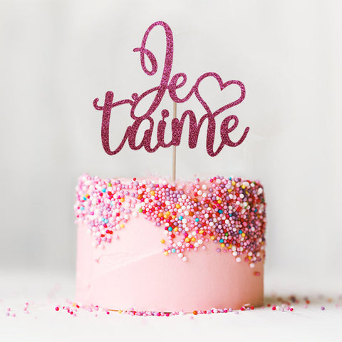 Je t'aime I love you wedding engagement cake topper pink
