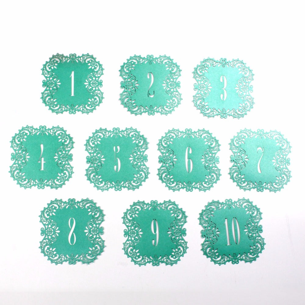 laser cut wedding table number lace effect tiffany blue