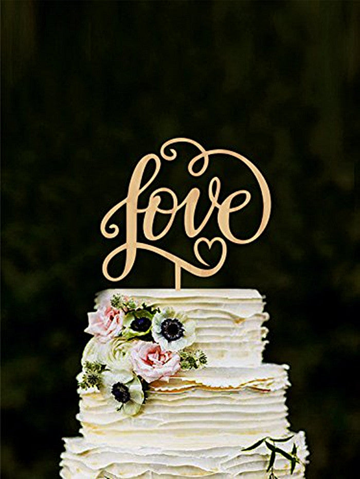 romantic wooden 'love' wedding cake topper