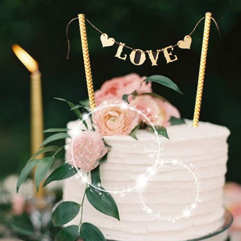 rustic 'love' cake topper