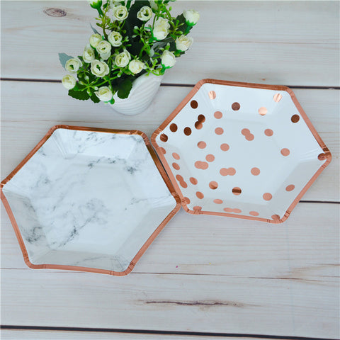 rose gold and marble paper plates disposable plates