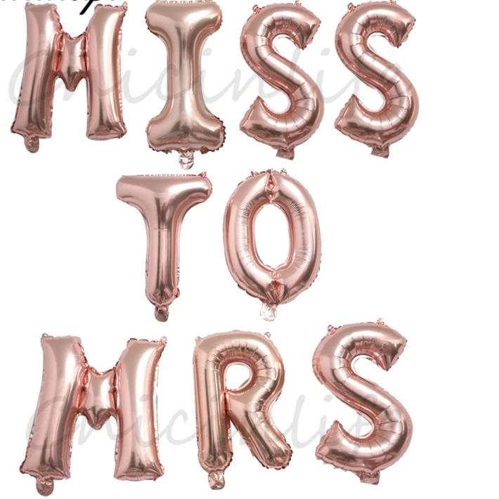 miss to mrs foil balloon bachelorette hen engagement bridal shower parties rose gold