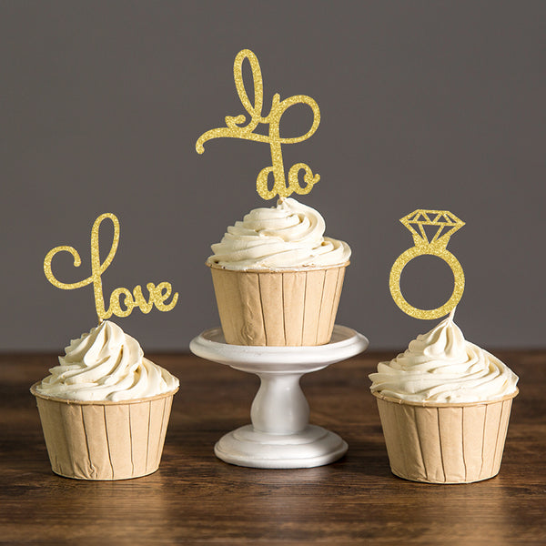 sparkle engagement cupcake topper and engagement ring gold