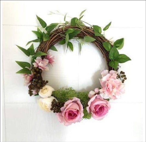 silk rose flower wedding wreath pink