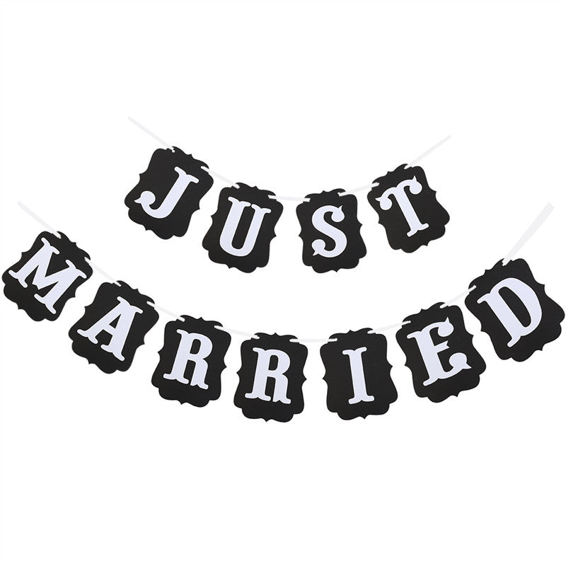 JUST MARRIED Card Paper Bunting Banner Wedding Party Favors
