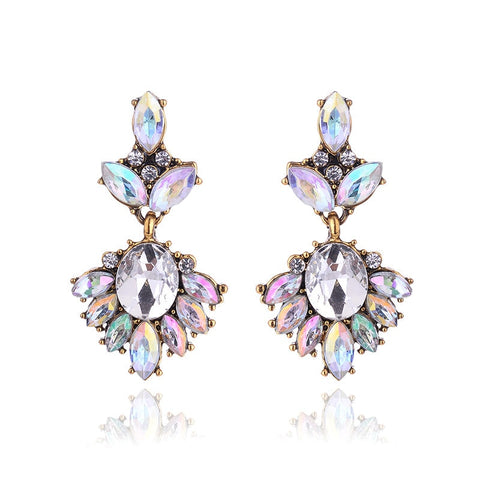 vintage rhinestone bridal and bridesmaid earrings multi-color