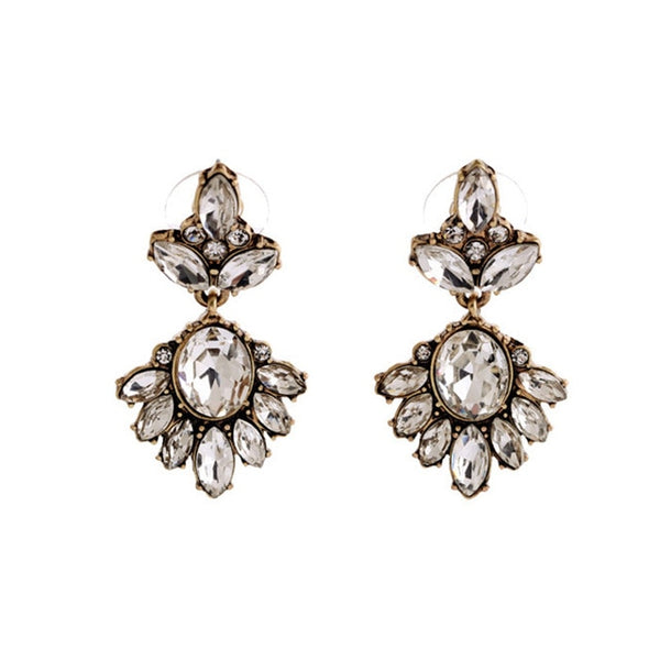 vintage rhinestone bridal and bridesmaid earrings champagne drop
