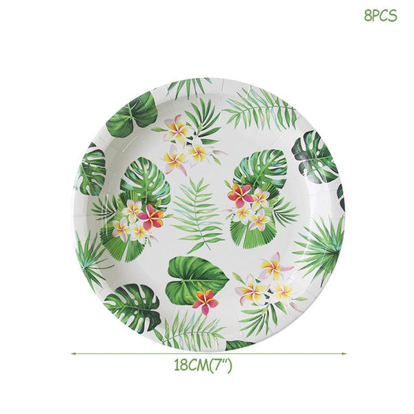 hawaiian party package paper plates