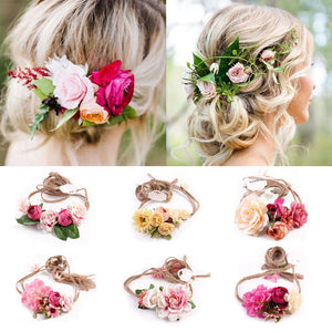 boho flower garland head dress for bridesmaids or bride various colors