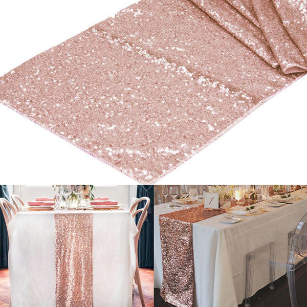 rose gold sequin table runner wedding decoration