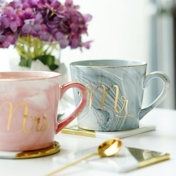 mr and mrs marble mugs pink and blue wedding gift