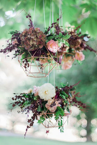 geometric copper hanging basket wedding decoration