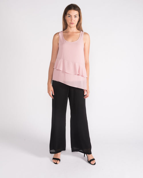 Gabie Chiffon Frill Singlet Top - Sizes 10-18