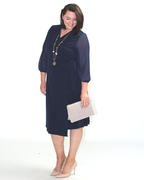 Lexi Soft Knit Dress - Chiffon Sleeves - Navy Size 10-18