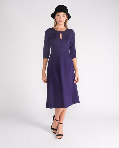 Ponti Key Hole Dress- Purple Size 10-18