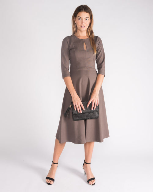 Ponti Key Hole Dress- Mocha Size 10-18