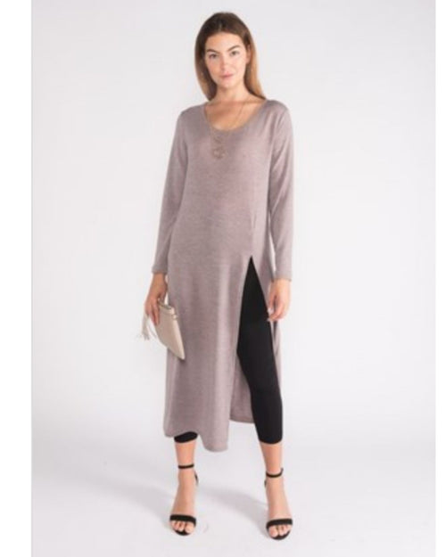 Wool Knit Tunic - Beige Up to Size 18