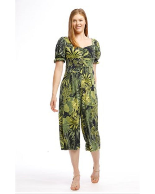 Tropical soft knit Jumpsuit - Green- Sizes 10-18