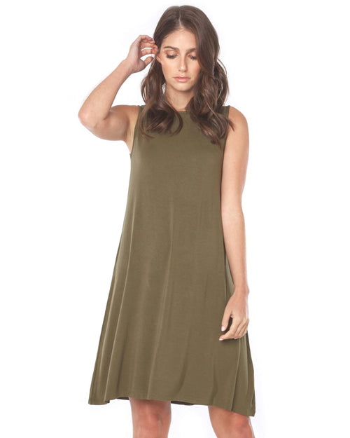 Bamboo Adele  Dress - Olive Green Up to 2XL