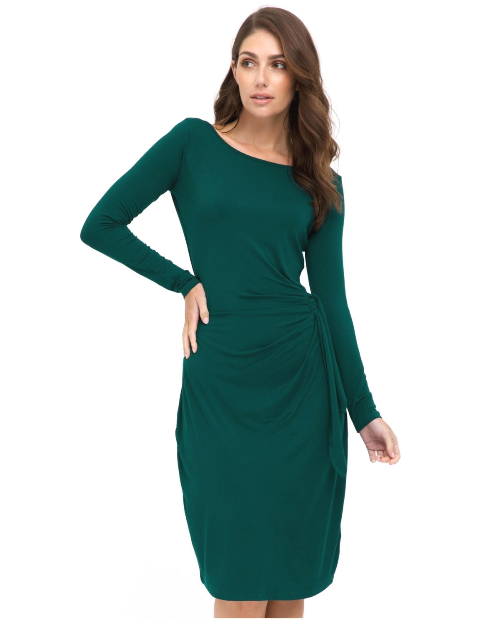 Bamboo Long Seeve Wrap Dress - Dark Teal- Size 10 -22
