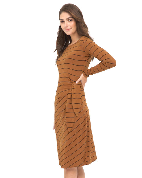 Bamboo Audrey Dress - Ginger Stripe Size 10-18