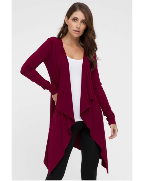 Waterfall Cardigan Red-Size 8-24