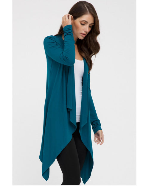 Waterfall Cardigan Teal- Size 10-16 ONLY