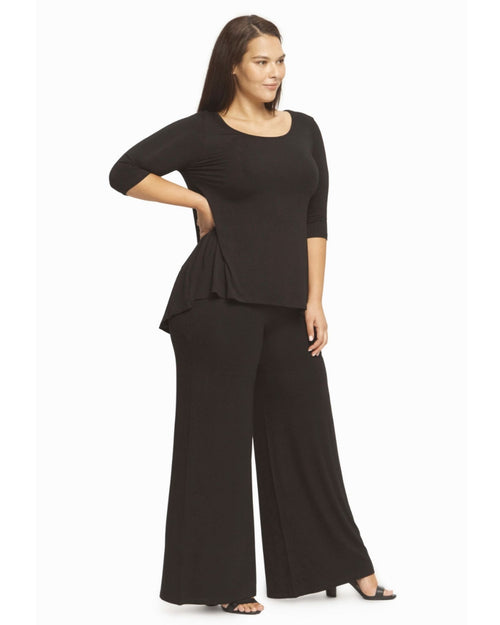 Bamboo High Low Hem Top - Black Up To 4XL