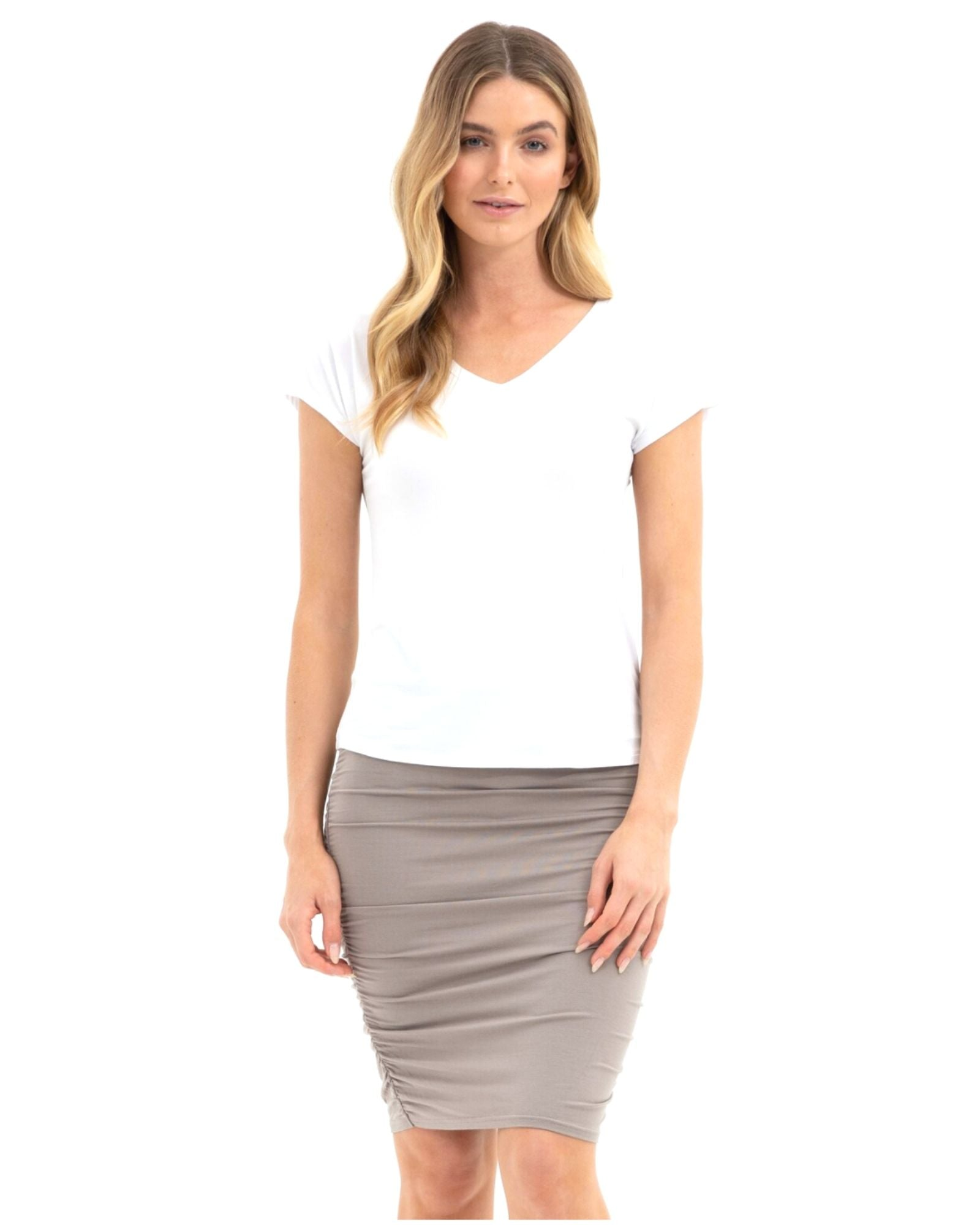 Ruched Tube Skirt-Taupe- Size 10-24