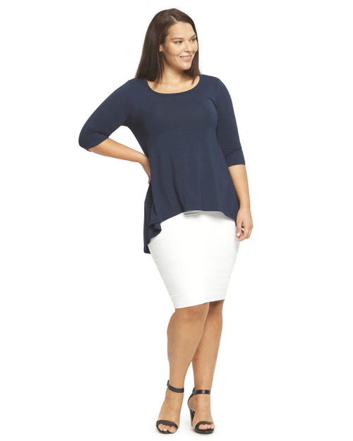 High Low Hem Top - Navy Size 10-22