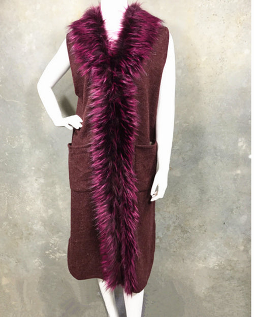 Lux Knit Vest With Faux Fur Collar - Berry