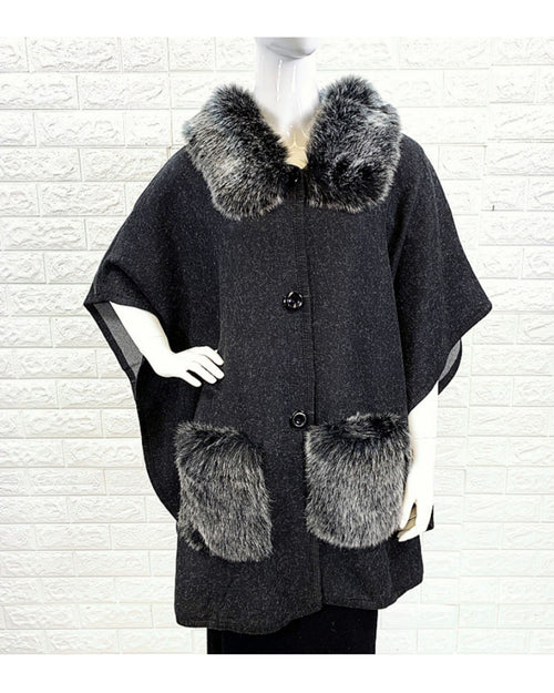 Lux Poncho Coat With Pockets - Black