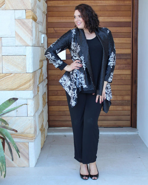 Silk Evening Jacket - Black & Silver