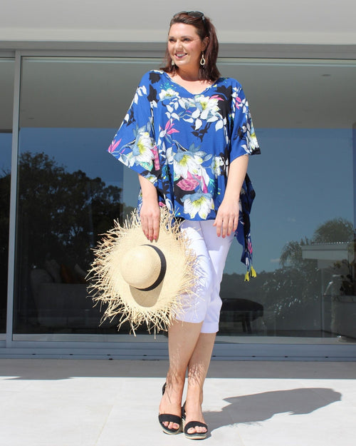 Blue & White Flower Print V Neck Short Kaftan
